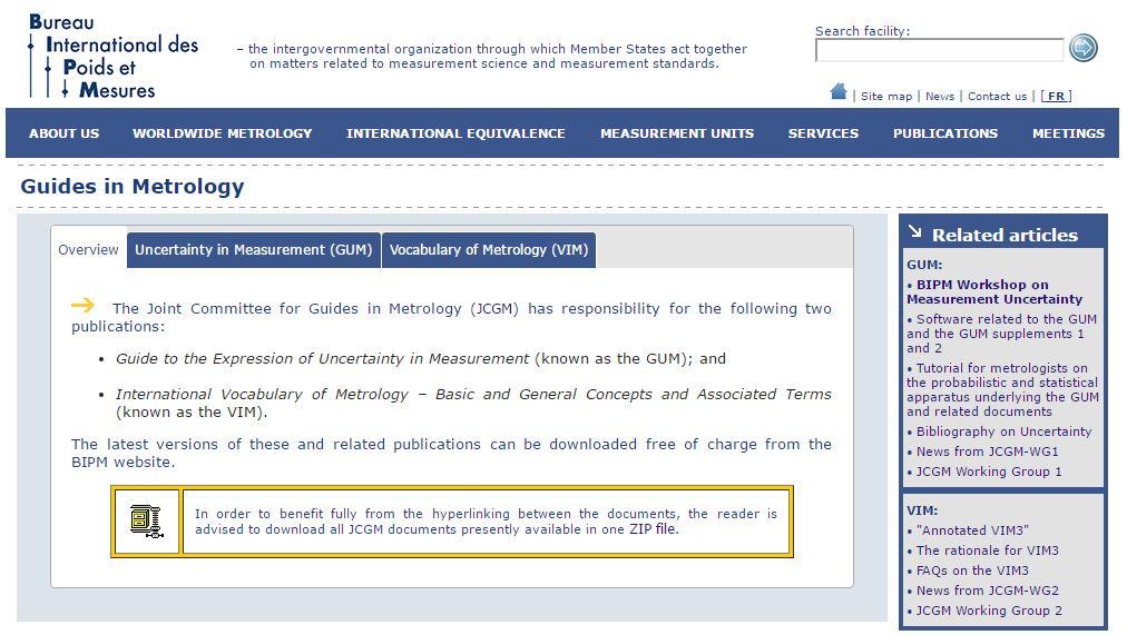 Descrição dos guias de metrologia disponíveis no site do BIPM.