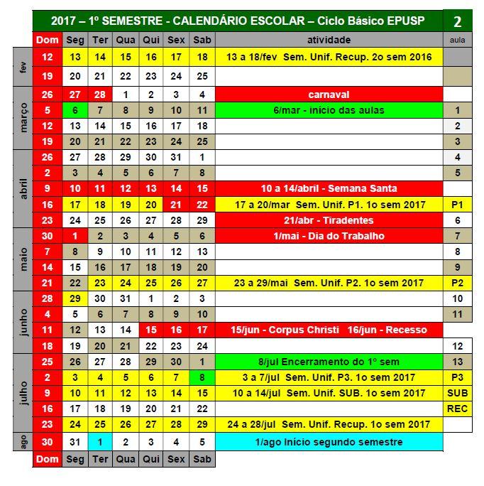 calendario aulas e provas
