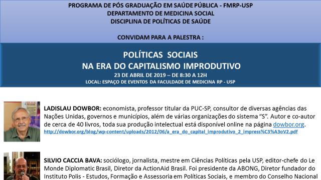 Convite Palestra Ladislau Dowbor